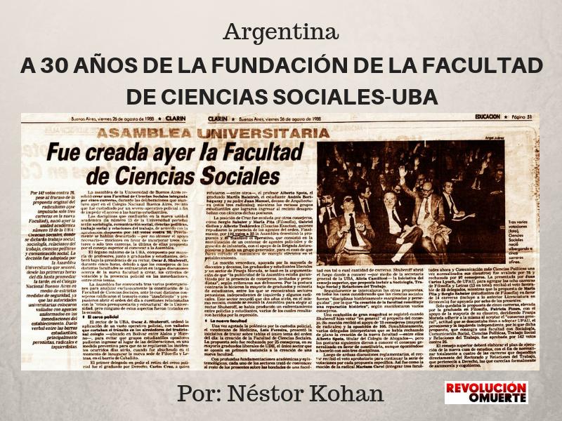 A 30 AÑOS DE LA FUNDACIÓN DE LA FACULTAD DE CIENCIAS SOCIALES-UBA