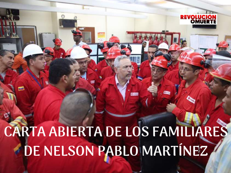 CARTA ABIERTA DE LOS FAMILIARES DE NELSON PABLO MARTÍNEZ